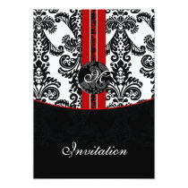 damask red wedding invitation