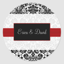 damask red Wedding Monogram stickers