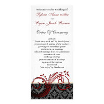 damask red Wedding program