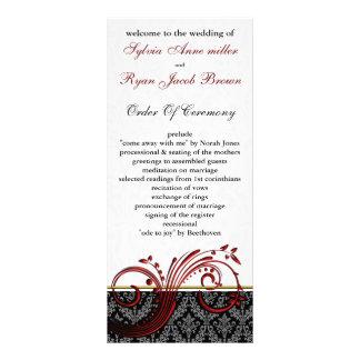 damask red Wedding program