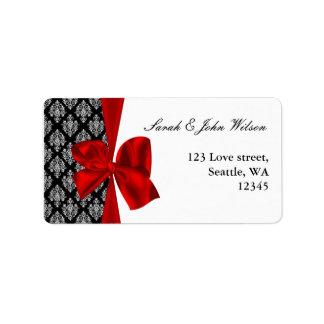 damask red wedding ,return address label