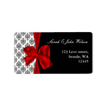 damask red wedding ,return address label