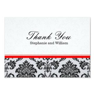 Damask Red Wedding Thank You Card