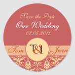 damask red yellow, Save the Date, Our Wedding, ... Round Sticker