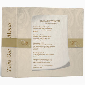 Damask Resturant Take Out Menus Binder