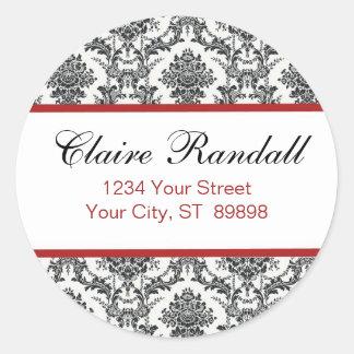 Damask Return Address Label  (#LABL 009) Classic Round Sticker