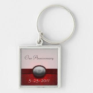 Damask Ribbon Anniversary Key Chain