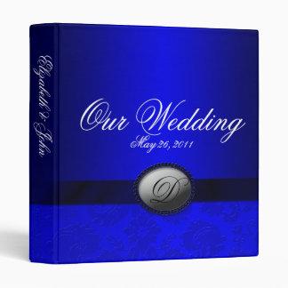 Damask Ribbon Blue Wedding Album Binder