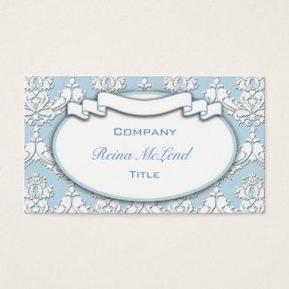 Damask Ribbon Business Card (Blue)