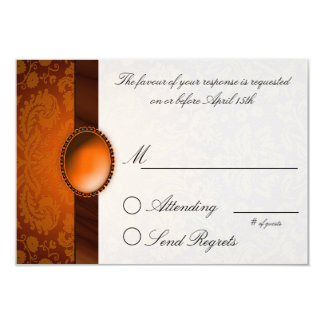 Damask Ribbon Copper  Reply Card