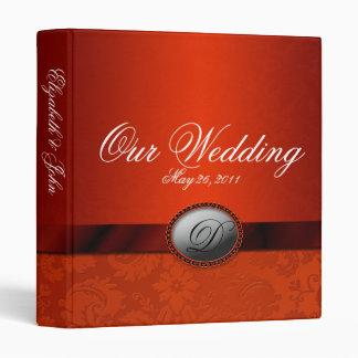 Damask Ribbon Copper Wedding Album 3 Ring Binder