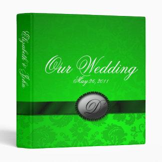Damask Ribbon Green Wedding Album 3 Ring Binder