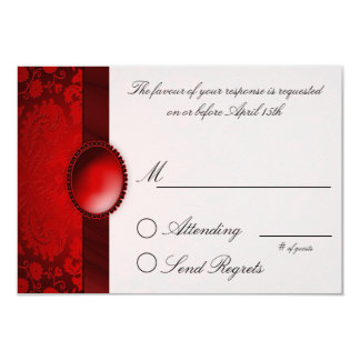 Damask Ribbon Red  Reply Card