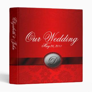 Damask Ribbon Red Wedding Album Binders