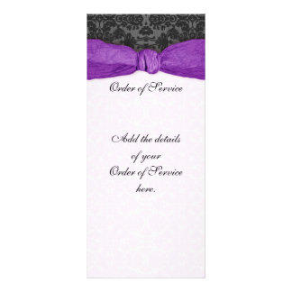 Damask Ribbon Wrapped Order of Service - Purple Rack Cards