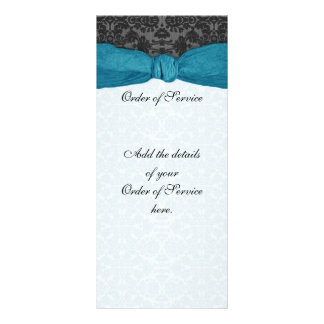 Damask Ribbon Wrapped Order of Service - Teal Full Color Rack Card