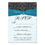 Damask Ribbon Wrapped RSVP - Teal Personalized Invites