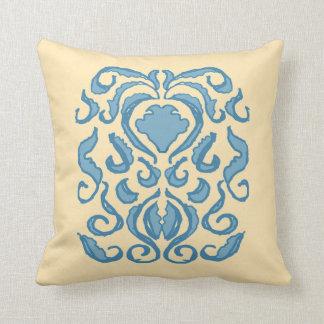 Damask robins egg blue old world creamy pillow