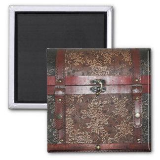 Damask Rose Leather Vintage Chest Magnet