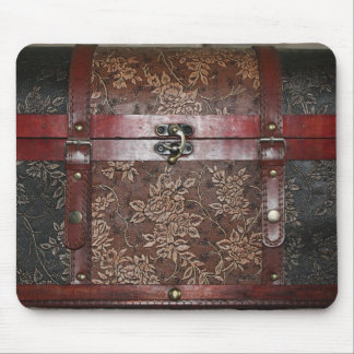 Damask Rose Leather Vintage Chest Mouse Pad