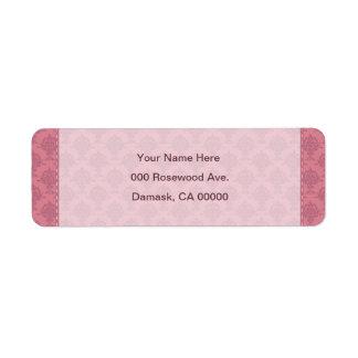 Damask Rose Pink Border Label