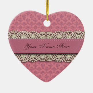 Damask Rose Pink Colors Double-Sided Heart Ceramic Christmas Ornament