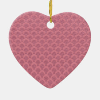 Damask Rose Pink Double-Sided Heart Ceramic Christmas Ornament