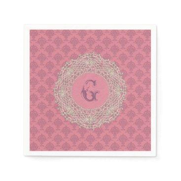 linda_mn Damask Rose Pink Monogram Napkin