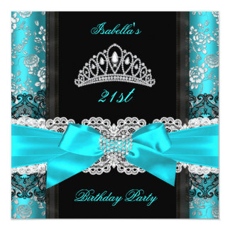 "Damask Rose Teal Black White Tiara Birthday Party 5.25"" Square Invitation Card"
