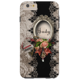 Damask, Roses and Ornate Silver Frame Personalized Tough iPhone 6 Plus Case