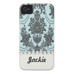 damask roses light blue and black.ai iPhone 4 cases