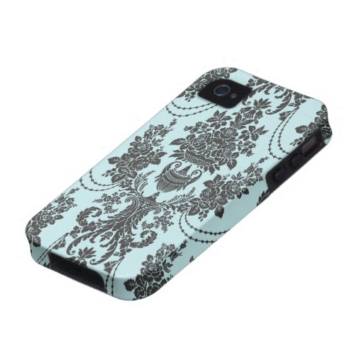 damask roses light blue and black vibe iPhone 4 case