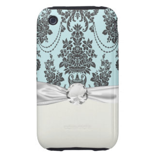 damask roses light blue and black iPhone 3 tough cover