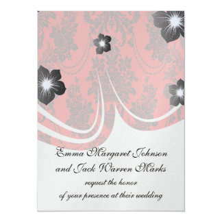 damask roses red and black 5.5x7.5 paper invitation card