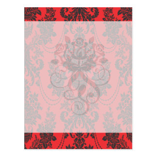 damask roses red and black.ai postcard
