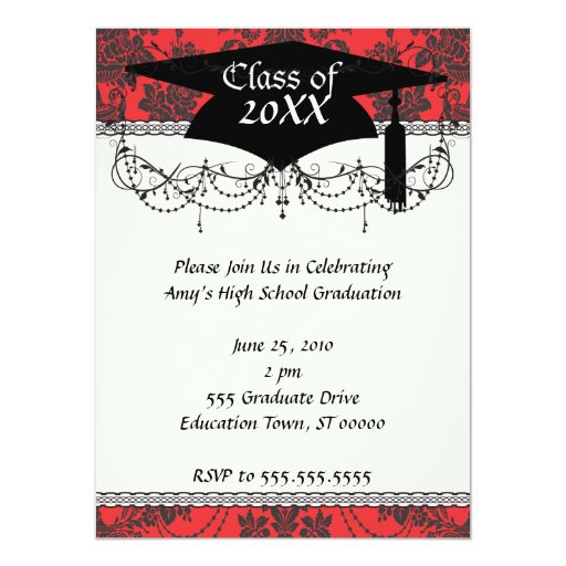 """damask roses red and black graduation 5.5"""" x 7.5"""" invitation card"""