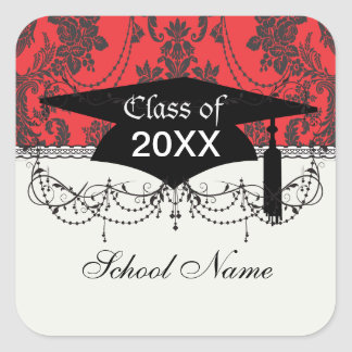 damask roses red and black graduation square sticker