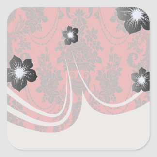 damask roses red and black square stickers