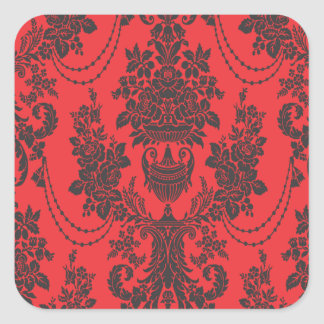 damask roses red and black sticker