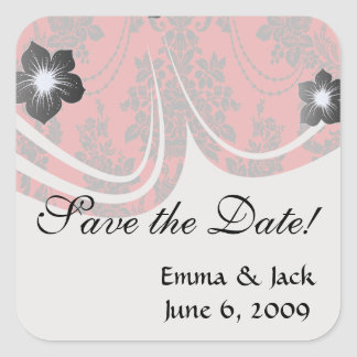 damask roses red and black square sticker