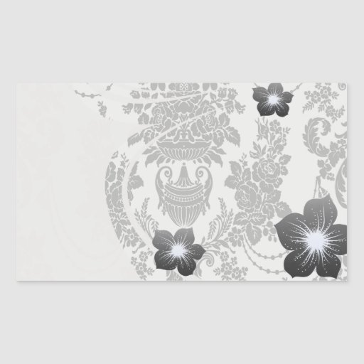 damask roses white and black.ai rectangular sticker