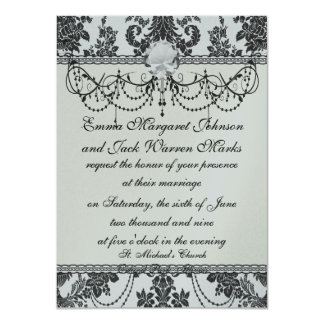 damask roses white and black card