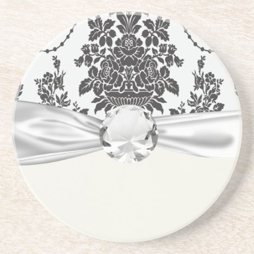 damask roses white and black drink coaster