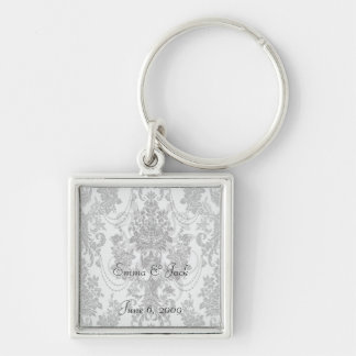 damask roses white and black key chains