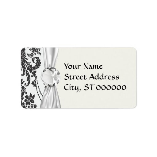 damask roses white and black personalized address labels