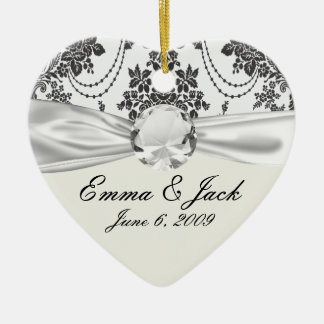 damask roses white and black ornaments