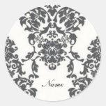 Damask Round Sticker