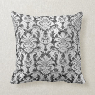Damask Royal Glitter Lux Silver Gray Monochromatic Throw Pillow