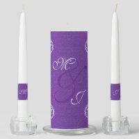 Damask Royal Purple Wedding Candles