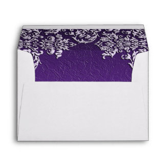 Damask Royal Purple Wedding Envelope